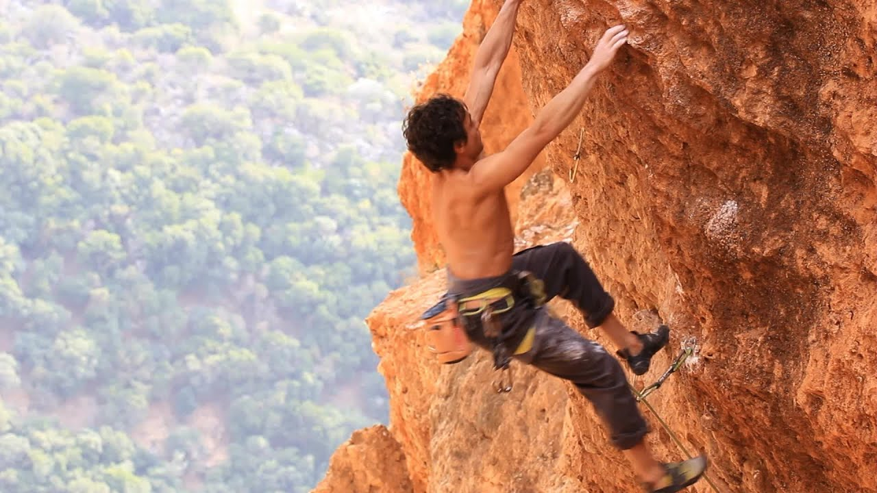 Rock Climbing Mountain Extreme Sports Rope Cliff Crag Motivation. Stock Footage