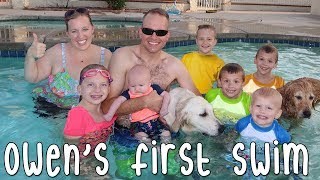 Baby Owen's First Pool Swim & Sharks Attack Mommy!