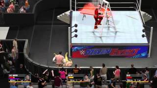 WWE 2K16 RKO off of a ladder through a FLAMMING TABLE!!!