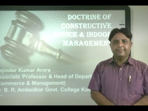 Company Law 2013: Doctrine of Constructive Notice & Indoor Management under E-Learning Program