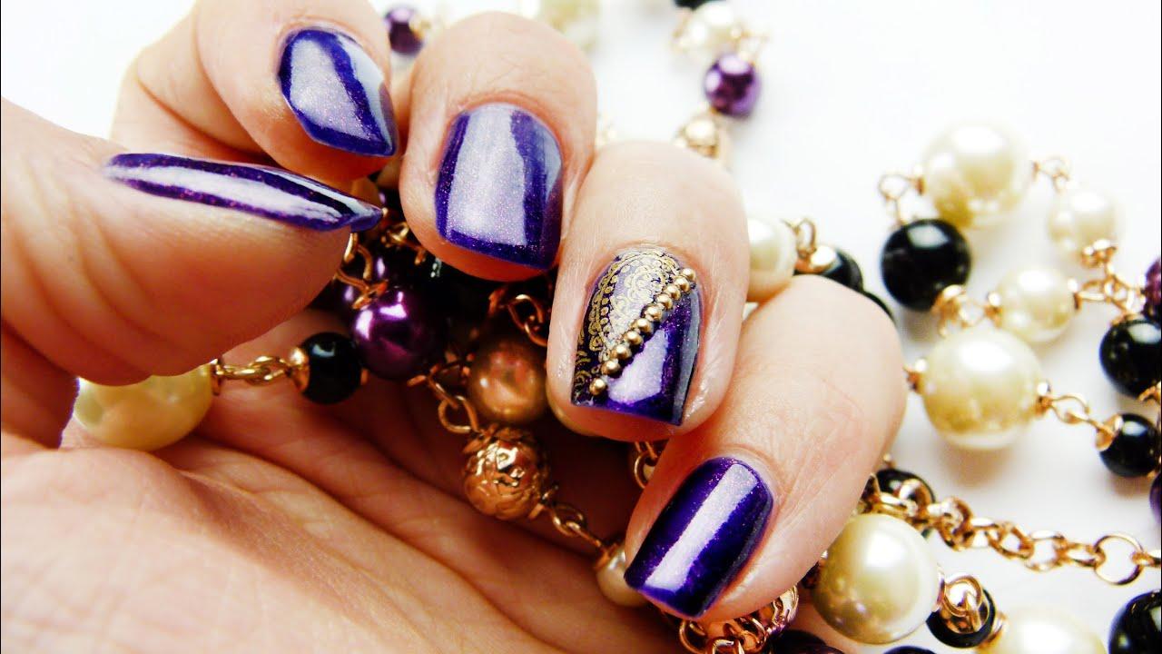 Royal Festive Purple And Gold Nail Art Tutorial Youtube