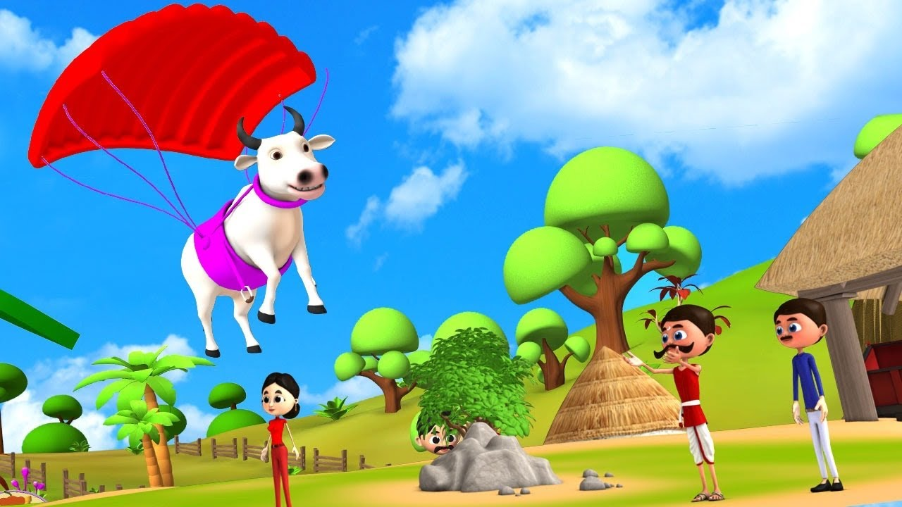 उड़ान पैराग्लाइडिंग बैल - Flying Paragliding Bull 3D Animated Hindi Moral Stories | JOJO TV Stories