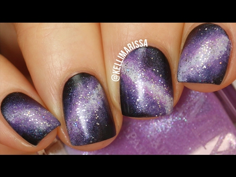PURPLE GALAXY NAIL ART DESIGN TUTORIAL