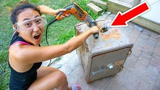 DRILLING HOLE INTO ABANDONED SAFE!! (WHAT'S INSIDE?!)