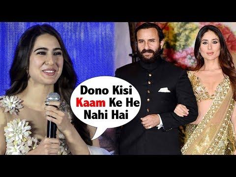 Sara Ali Khan's FUNNY Moment When Asked On Kareena Kapoor & Saif  At Kedarnath Trailer Launch