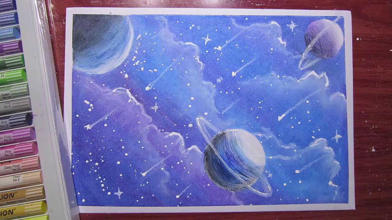 Vẽ tranh galaxy các hành tinh mơ mộng bằng sáp màu dầu
