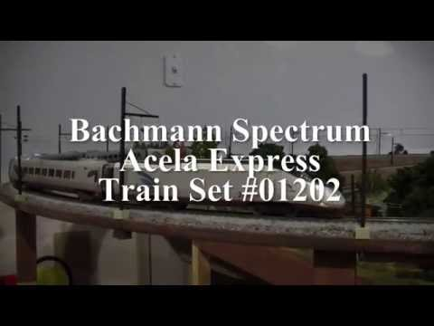 HO Model Railroad Bachmann Spectrum Amtrak Acela Express Running Under Catenary