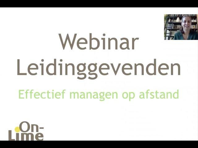 Webinar: 'Effectief Managen op Afstand voor Leidinggevenden'