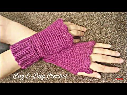CROCHET How To #Crochet Fingerless Gloves Wristers #TUTORIAL #155