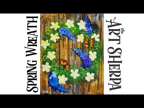 How to paint a Wreath with Flowers, wood and butterflies EASY PEASY