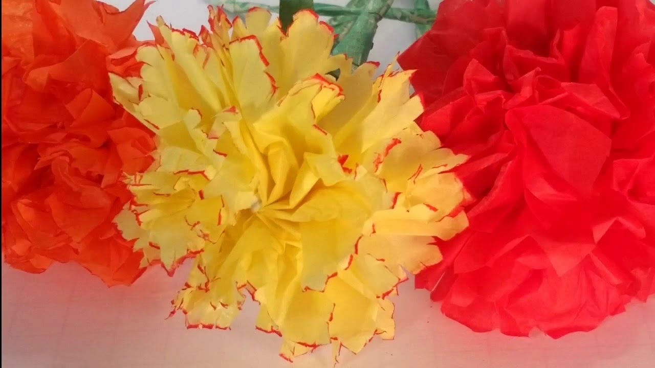 How to make a tissue paper carnation easy step by step diy flower how to make a tissue paper carnation easy step by step diy flower tutorial youtube mightylinksfo