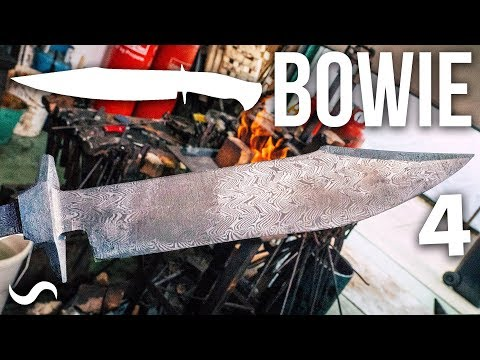 MAKING A BOWIE KNIFE WITH TWIST DAMASCUS!!! Part 4