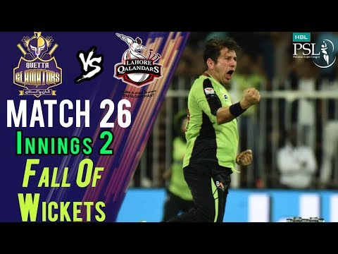 Quetta Gladiators  Fall Of Wickets|Lahore Qalandars Vs Quetta Gladiators|Match 26|14 Mar|HBL PSL2018