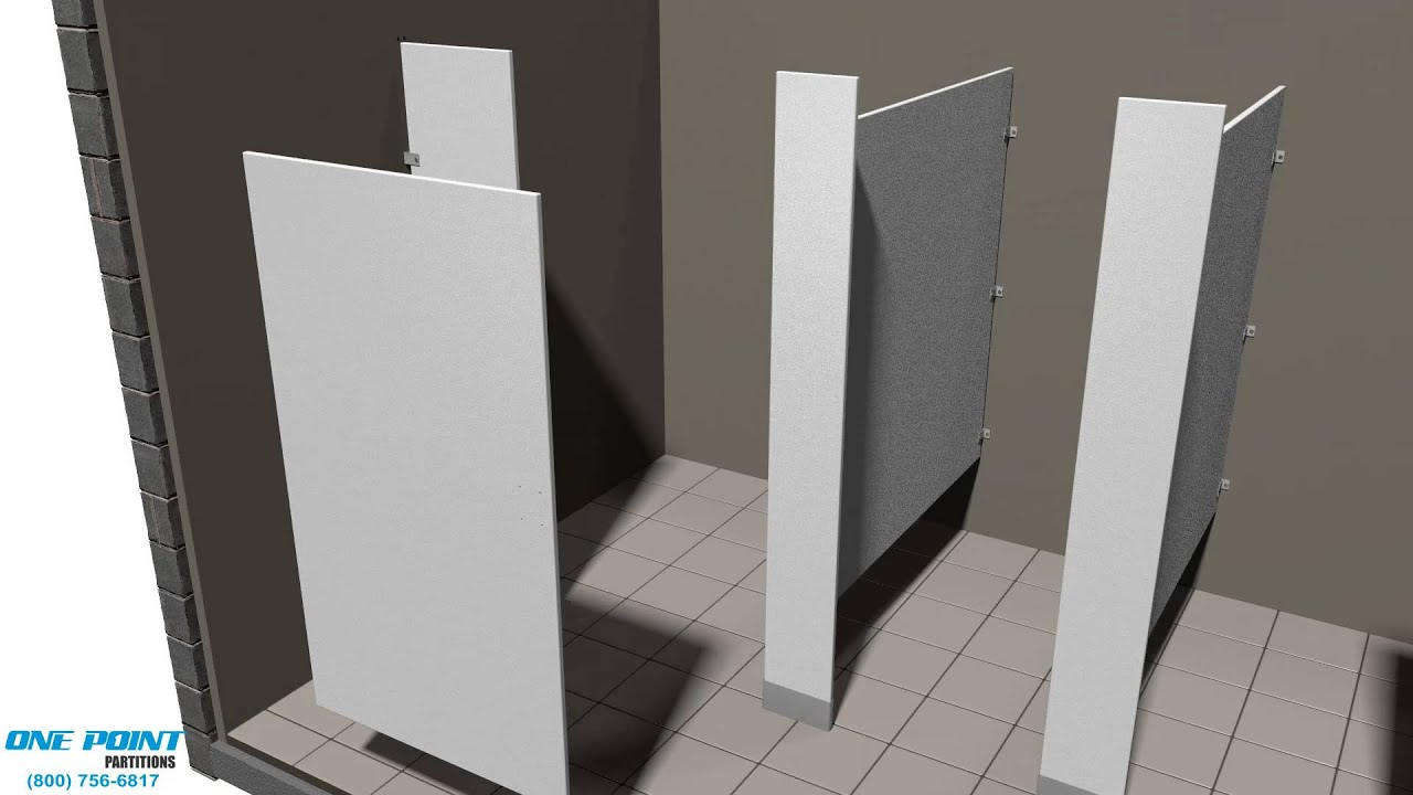 Toilet Partition Installation Of Solid Plastic With Vault Hinges - Bathroom partition hinges