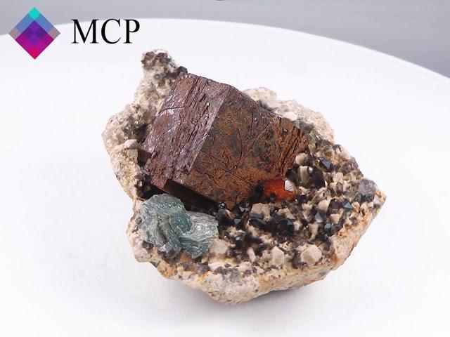 GFS0069 PYRITE, SPESSARTINE garnet, LIMONITE, smoky QUARTZ - CHINA