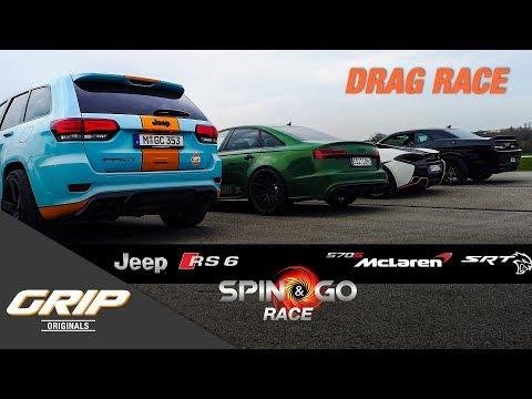 Spin & Go Race 🏆 Audi RS 6 Limo, McLaren 570s, Dodge Challenger SRT, Jeep [2/4] | GRIP Originals