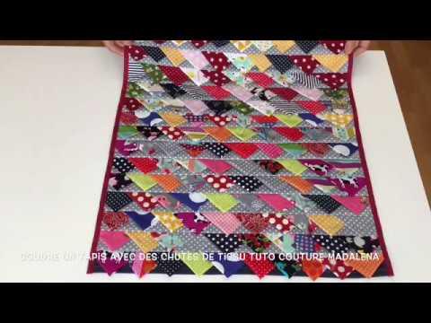 coudre un tapis avec des chutes de tissu tuto couture madalena