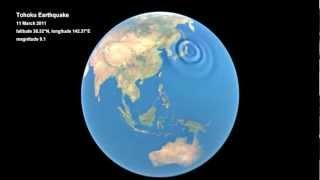 A animação mostra como o terremoto que atingiu japão em 2011 provocou ondulações na atmosfera. as ondas sonoras do viajou para cima, eles pr...