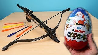 Cobra crossbow against huge Surprise Kinder Egg and non-newtonian fluid. alex boyko