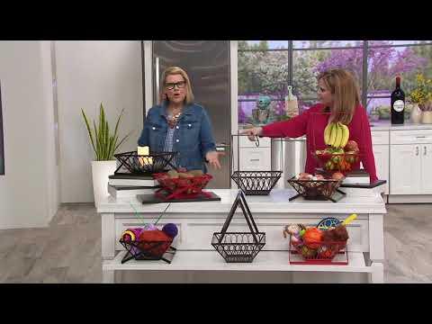 Gourmet Basics by Mikasa Loop Square Basket with Banana Hook on QVC