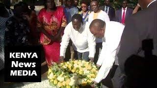 Uhuru Kenyatta and Raila Odinga LAYING WREATH at MAUSOLEUM of Jaramogi Oginga Odinga!!!