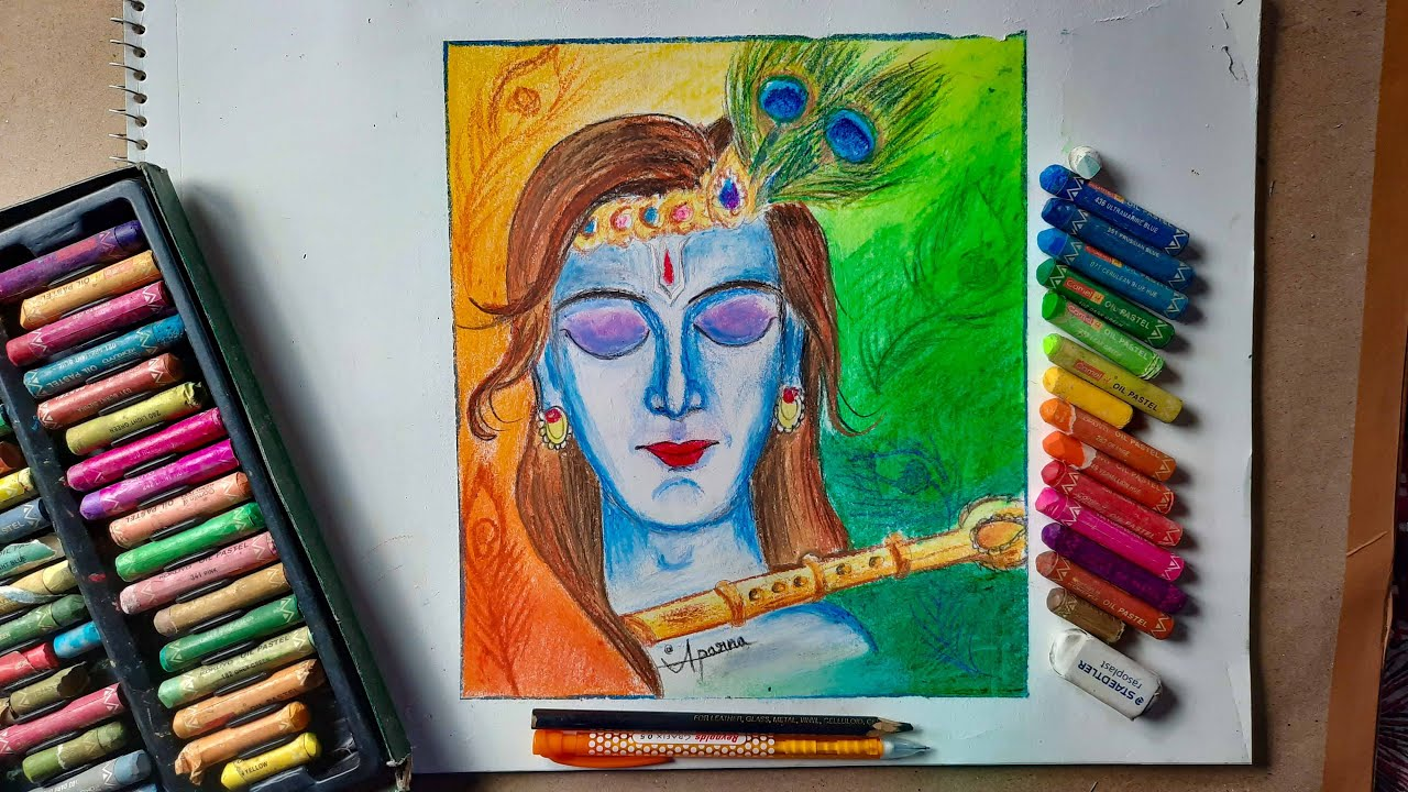 Lord Krishna Drawing With Oil Pastel || 🙏 Easy Drawing Tips for Beginners ||