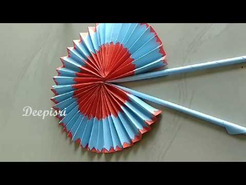 DIY Paper POCKET FAN,hand fan out of color papers,Paper Fan Craft