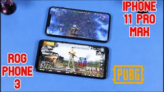 iPhone 11 Pro Max vs ROG Phone 3 PUBG Comparison & Speed Test | Gameplay, FPS, Graphics