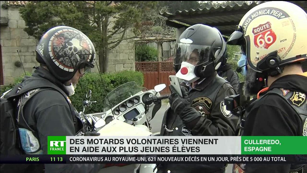 Espagne : des motards volontaires viennent en aide aux élèves démunis