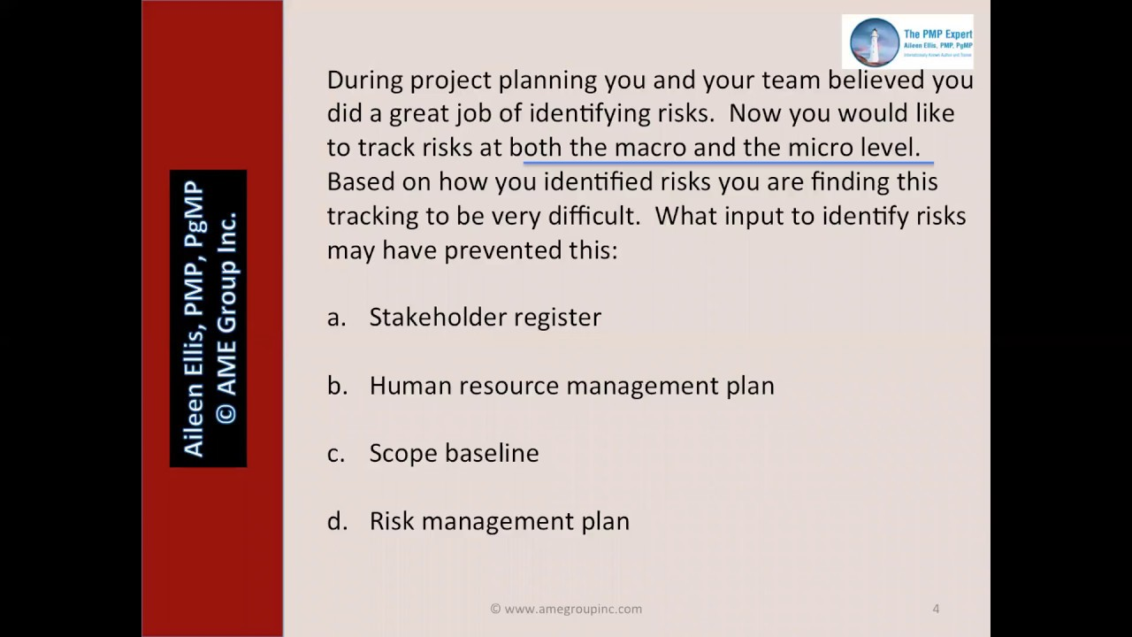 Pmp exam tracking risks with aileen ellis youtube pmp exam tracking risks with aileen ellis 1betcityfo Gallery