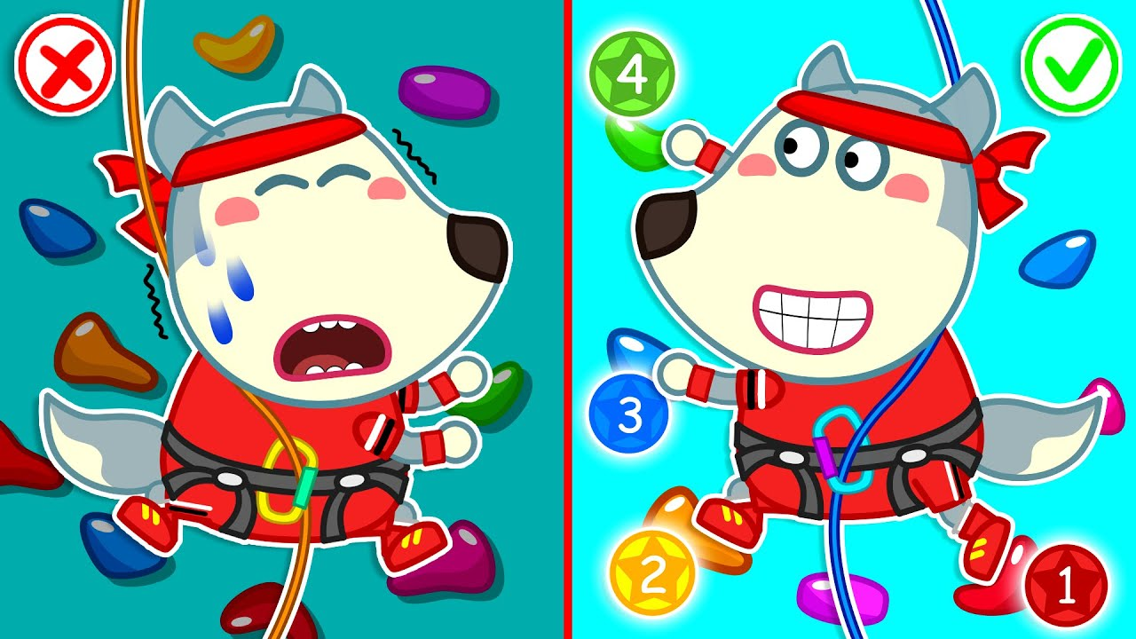 Wolf Family⭐️Wolfoo Plays Rock Climbing Challenge for Kids - Kids Stories at Playground Kids Cartoon