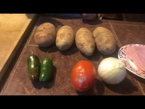 Receta para cocinar unas prácticas papas a la mexicana con jamón Receta práctica video receta