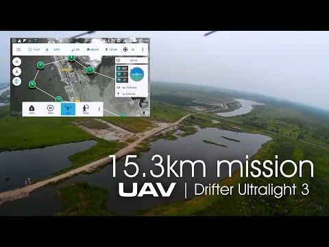 UAV Drifter ultralight - 15.36km autonomous flight on APM