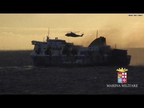 Hundreds rescued from burning ferry