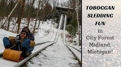 Toboggan Sledding Fun!  |  Winter Sports at City Forest in Midland, Michigan