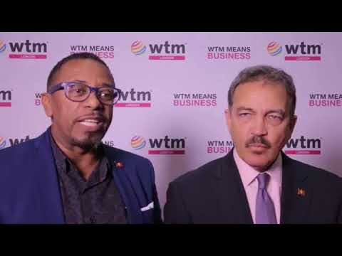 The Antigua and Barbuda Minister of Tourism at WTM London 2017