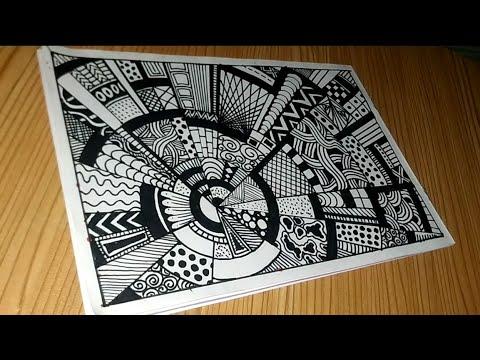 Download Step By step Drawing Zentangle Rock Doodle Vignette #028