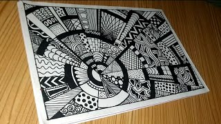 Step By Step Drawing Zentangle Rock Doodle Vignette 028 Youtube