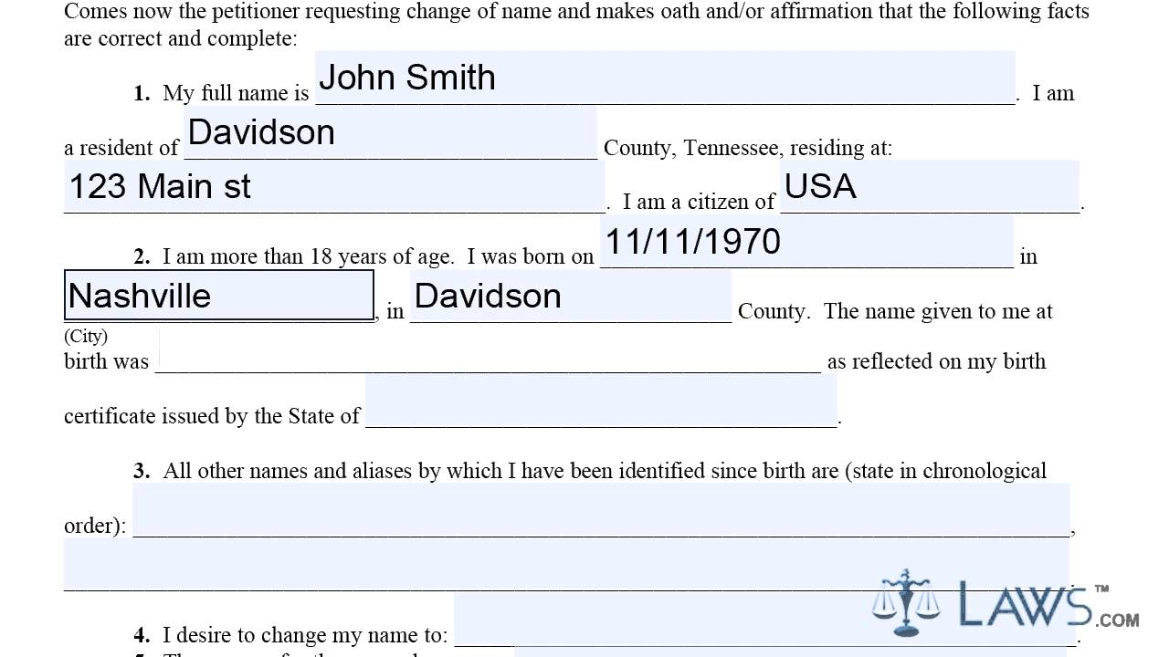 Form Petition for Name Change Tennessee - YouTube