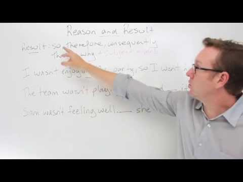 English lesson B2 - Showing reason and result