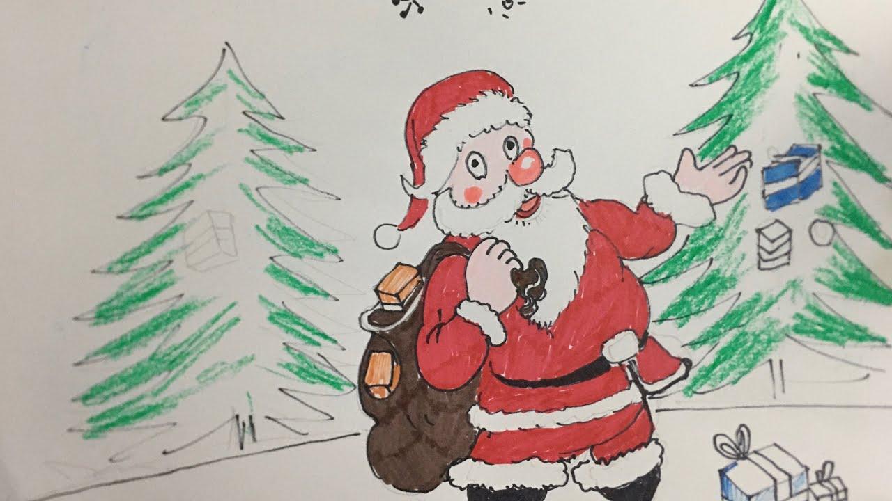 Vẽ tranh ông già Noel   Đêm Noel