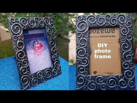 How to make photo frame at home with waste materials. DIY photo frame ideas. Cardboard craft. #diy