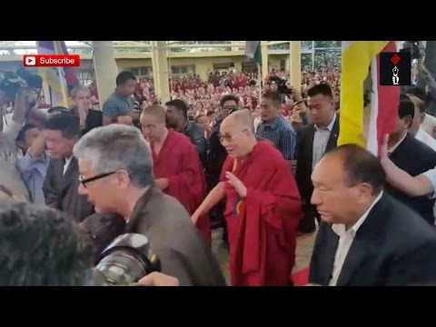 Dalai Lama Arriving At Sikyong Lobsang Sangay's Oath Taking Ceremony
