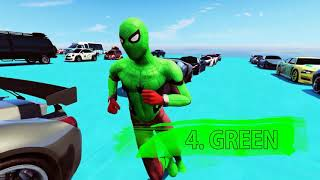 Learn Colours Racing Cars for Kids in Spiderman Cartoon Videos   Learn Numbers  Colours for Kids