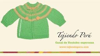 Repeat youtube video Ropón o chaquetita fácil tejida en dos agujas para bebes