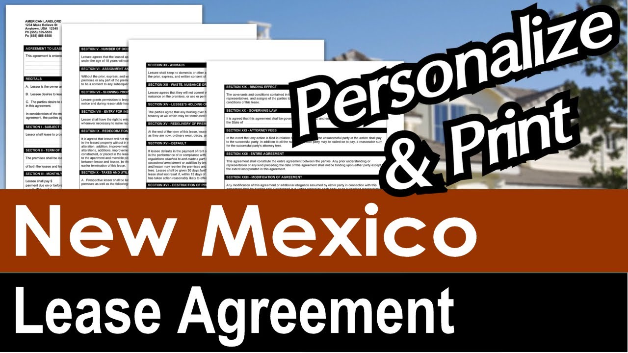 New Mexico Lease Agreement For Rental Property Youtube