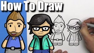 How To Draw Rhett and Link from Good Mythical Morning - EASY Chibi - Step By Step