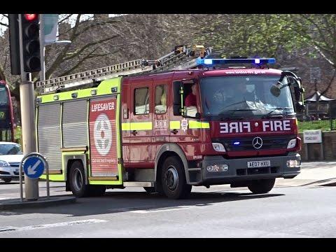 London Fire Brigade Pump Ladder + British Transport Police Car Responding