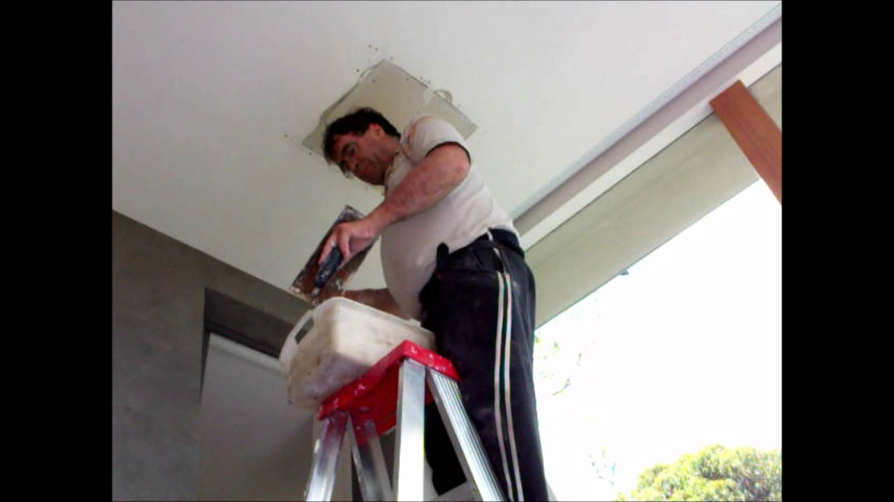 Repairing A Large Hole In A Plasterboard Ceiling ~ Hawthorn Plaster Repairs    YouTube