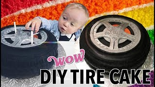 DIY CAR TIRE WHEEL CAKE & CAKE MIX HACK - PINTREST